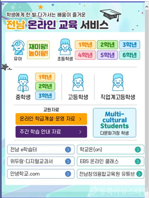 전남교육청 홈페이지 온라인교육서비스 팝업창.JPG